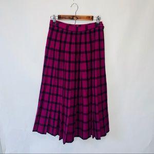 Pendleton 100% wool pink blue vintage skirt